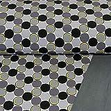 Softshell Stoff Kringel und Kreise grau gelb schwarz
