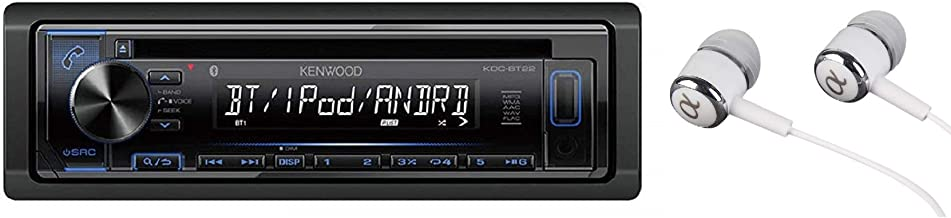 Kenwood Single DIN Bluetooth in-Dash CD/MP3, AM/FM, Front USB/Auxiliary Car Stereo Receiver w/Dual Phone Connection, Spotify/Pandora/iPhone Control/Free ALPHASONIK Earbuds