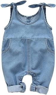Newborn Infant Baby Girls Denim Bodysuit Halter Sleeve Romper with Two Pocket Jeans Overalls
