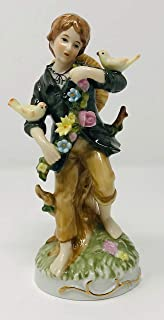 Dresden Boy with Flowers and Birds, with Gold Leaf Trim, Vintage Collectible Porcelain Figurine Germany