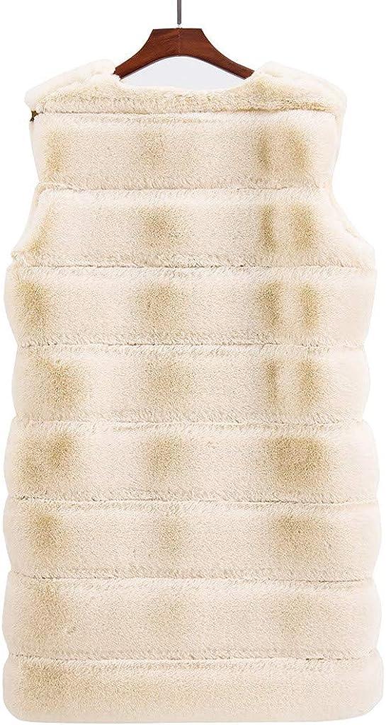 WUAI-Women Faux Fox Fur Vest Winter Warm Long Fur Jacket Warm Faux Fur Coat Outwear Plus Size