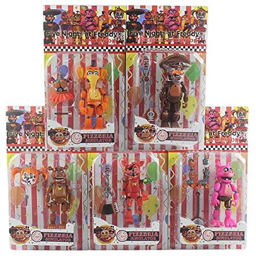 6 Piezas Five Nights At Freddy'S Toys FNAF Figuras De Acción De Muñecas con Luces, Se Pueden Unir En 6 Piezas De Juguetes con Articulaciones Móviles, 5.5 Pulgadas, Multicolor