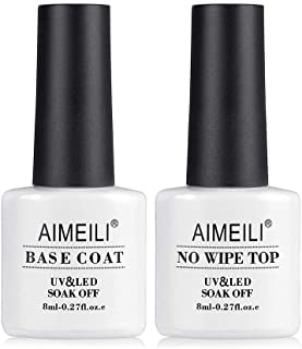AIMEILI Soak Off UV Gel Polish Base Coat and No Wipe Top Coat Set Upgraded Formula Long Lasting Mirror Finish Gel Polish 2...