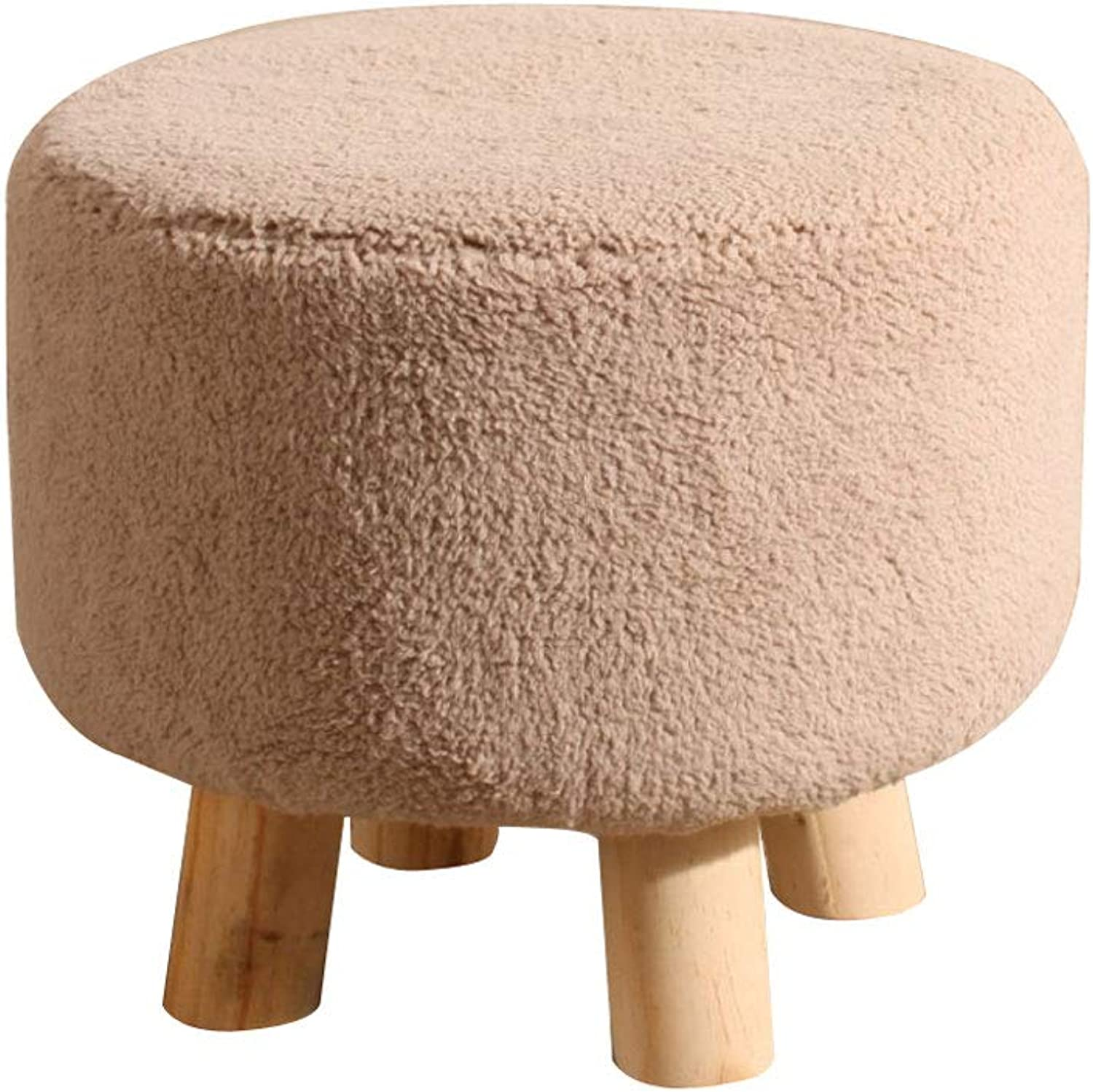 Wooden Footstool, Solid Osman Stool with Soft Cushion for Living Room, Bedroom (color   A, Size   32x32x28cm(13x13x11))