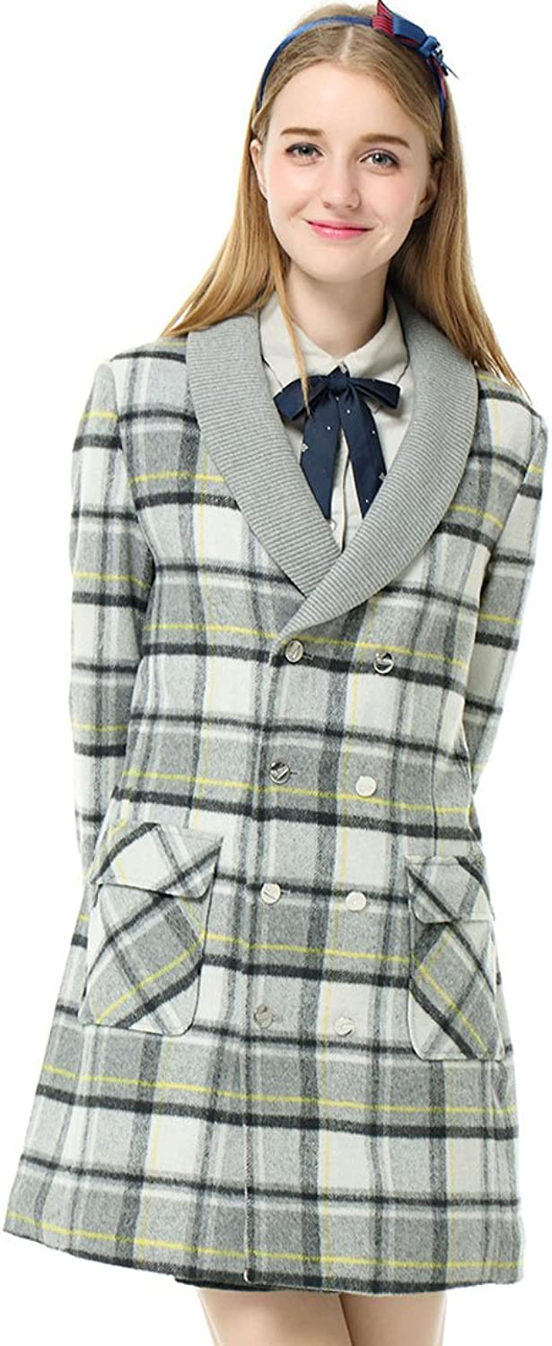 Etongenius Long Grey Plaid Double Breasted Slim Fit Wool Blend Trench Jacket Coat Parka Overcoat for Women Girls