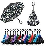 Jooayou Paraguas Invertido de Doble Capa,Paraguas Plegable de Manos Libres Autoportante,Paraguas a Prueba de Viento Anti-UV para la Lluvia del Coche al Aire Iibre (Lily)
