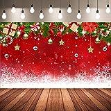 Telón de Fondo de Fotos de Navidad, Fondo de Fotografía de Navidad de Copo de Nieve de Invierno de Tela Fondo Rojo de Fotografía de Feliz Navidad, 72,8 x 43,3 Pulgadas