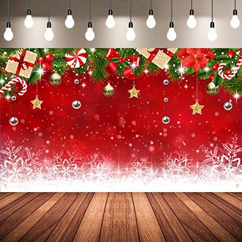 Sfondo Foto Natale, Fondale Natale Fiocco di Neve Inverno in Tessuto Sfondo di Buon Natale Rosso Ornamenti Natalizi Puntelli Fotografici di Natale, 72,8 x 43,3 Pollici