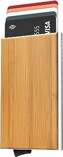 VULKIT VULKIT Tarjeteros para Tarjetas de Credito de Grano de Madera de Bambú Tarjetero Automatico RFID Bloqueo Hombre o M...