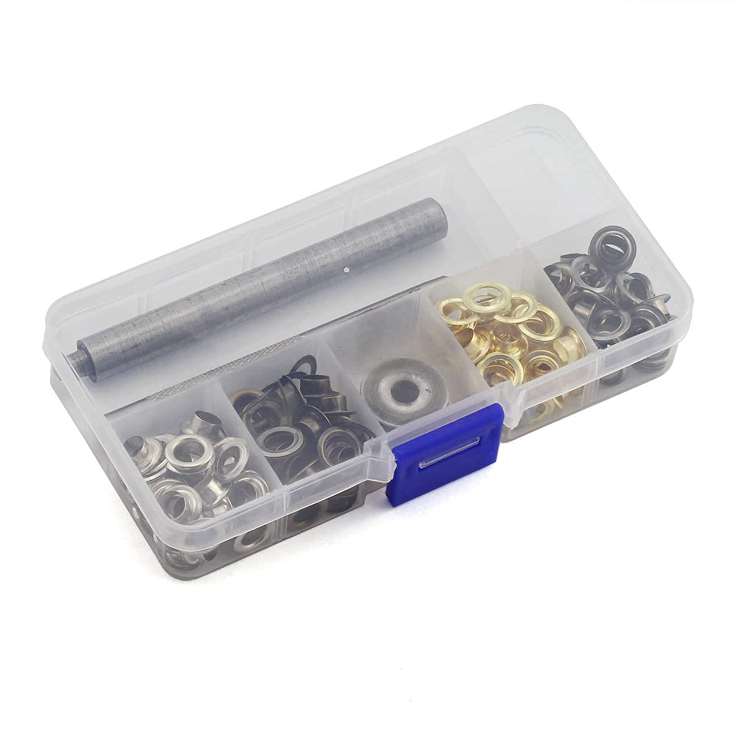 PZRT 120 Sets Eyelets and Grommets with 1 Set Hand Knocking Tools for Clothes, Shoes, Belts, Bags and Other Home Textiles Uses