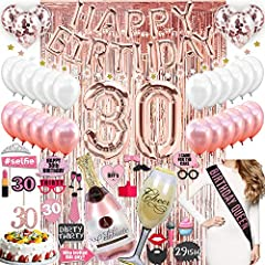 "30TH BIRTHDAY DECORATIONS SET - Along with everything else, this set includes ""30"" Double Sided cake topper + Rose Gold Foil Fringe Backdrop Curtain for Instant Photo Booth + 6 rose gold confetti balloons. PERFECT FOR HER - Our birthday decorations k..."