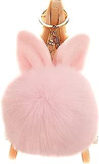 Artificial Rabbit Ear Fur Ball - Fluffy Pom Pom Balls with Keychain Hook -Fluffy Pompom Phone Bag Charm Pendant