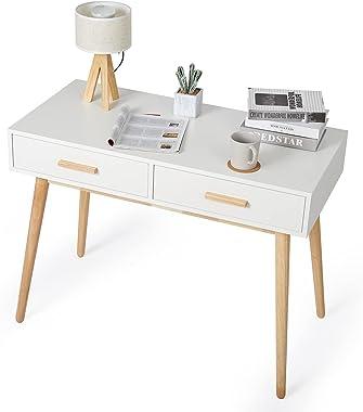 Meerveil - Bureau d'Ordinateur - Table Informatique en Bois avec 2 Tiroirs Style Scandinave pour Bureau Salle d'Etude