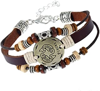 Pisces 12 Zodiac Jewelry with Lobster Clasp Handmade Lover Leather Bracelet