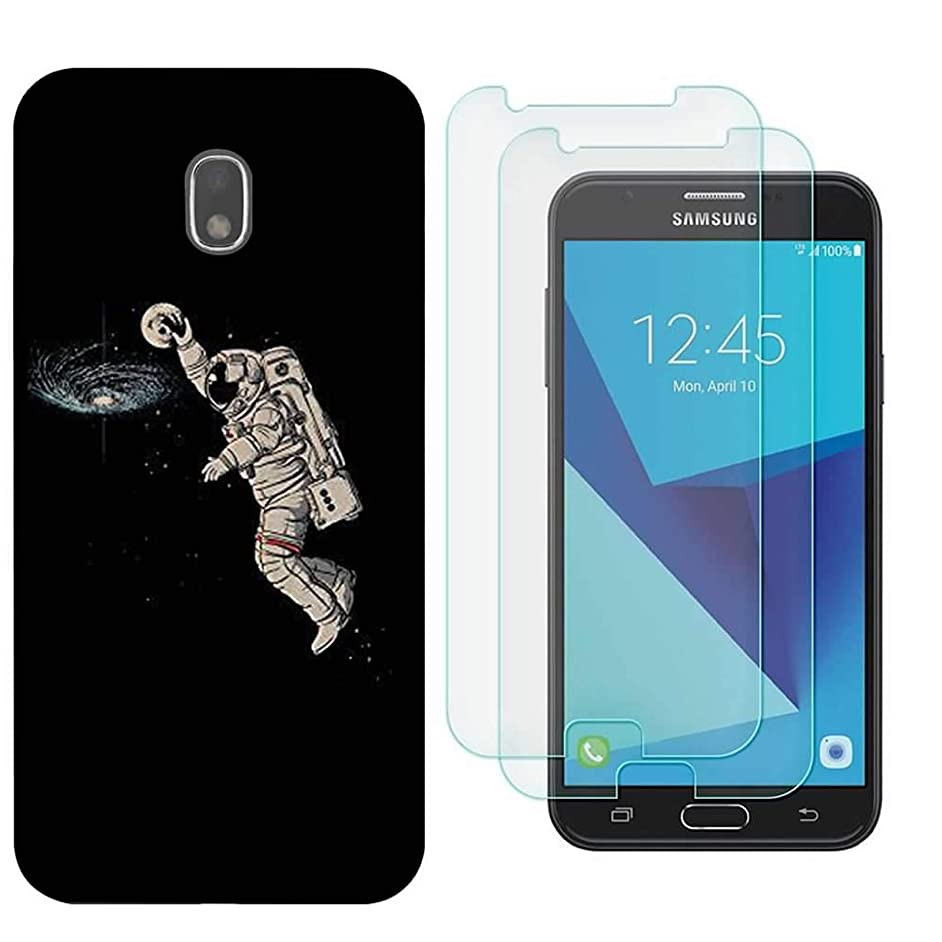 for Samsung Galaxy J7 Case, with 2pcs Screen Protector Tempered Glass Back Soft TPU Shockproof Silicone Gel Bumper Protective Cover for J7 Prime / J7 Sky Pro / J7 Perx -Astronaut