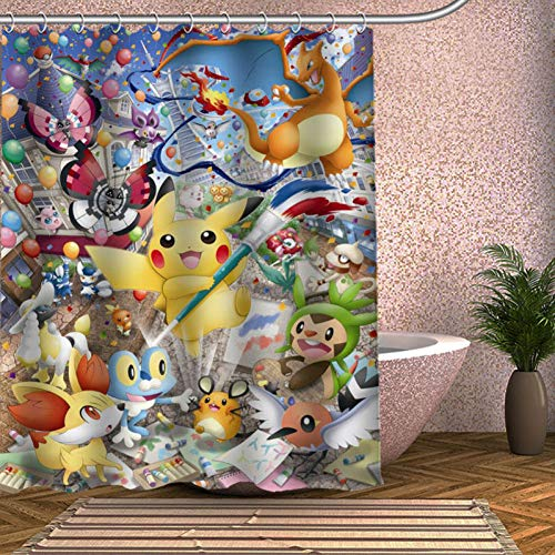 Eotifys Duschvorhang Pokemon Duschvorhang Umweltfre&liche Moderne Stoff Polyester Custom Badvorhänge Home Decor Gardinen