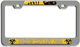 Makoroni - Zombies Hate Fast Food Zombie Ch Steel License Plate Frame - License Tag Holder 3D Design