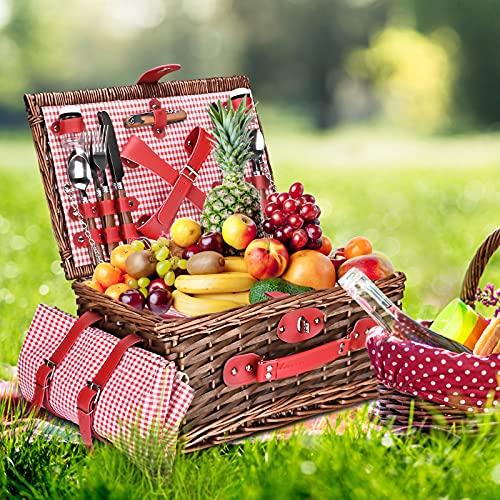 PaNt Wicker Picknickkorb Set für 4 Personen Camping Wicker Korb Wicker mit Großer Isolierter Kühltasche und Besteckservice Kit, Willow Hamper Basket Sets für Camping und Outdoor Party (rot und weiß)