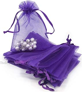 TheDisplayGuys 100-Pack 6x8 Purple Sheer Organza Gift Bags with Drawstring, Jewelry Candy Treat Wedding Party Favors Mesh Pouch