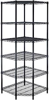 BestOffice New Heavy Duty Wire Steel 6-Tier Corner Shelf Garage Storage Shelving Rack C706
