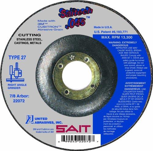 United Abrasives-SAIT 22073 Type 27 Saitech Cutting Wheel, 5-Inch x .045-Inch x 7/8-Inch, 50-Pack