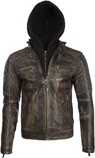 Aviatrix Men's Real Leather Vintage Look Biker Jacket with Removable Hood (2JB2)