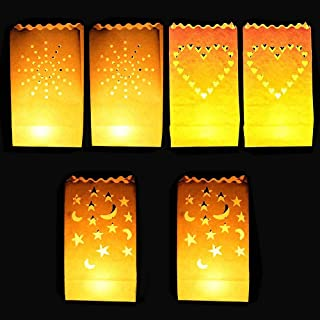 DECARETA 30 Packs Lantern Bags Paper Candle Bags White Luminary Bag for Weddings, Outdoor, Birthday, Party, Perfect for Electric LED Tea Light, Votives and Candles