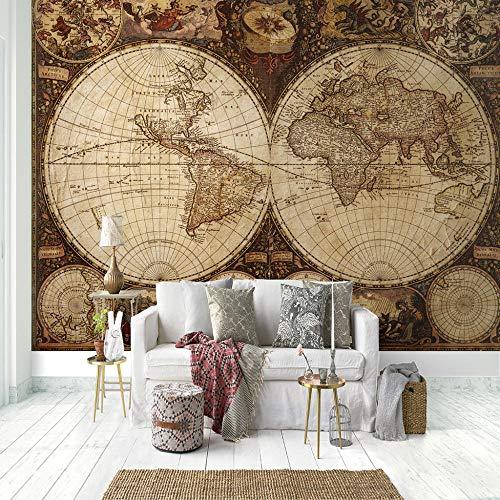 Murales Papel Pintado,Mapa del mundo retro europeo Foto Wallpaper Comedor Sala de Estar Sofá Telón de Fondo Pintura de Pared Mural de Pared-430x300cm