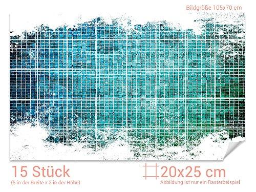 GRAZDesign Fliesen Folie glänzende Folie - Klebefolie Fliesen Querformat - Fliesenspiegel Küche Mosaik Steine - Fliesenaufkleber Küche türkis / 20x25cm (BxH) / 766108_20x25_70