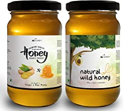 HiHoney Saurashtra Honey Bee Farm Raw and Unpasteurized Organic Honey Combo of Natural Forest Honey and Ginger Infused Honey (250 g + 20 g X 2 Glass Jar)