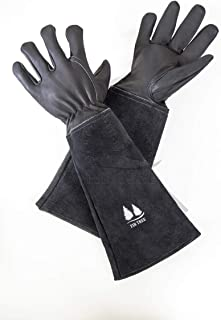 Leather Gardening Gloves By Fir Tree. Premium Goatskin Gloves With Protective Cowhide Gauntlet Sleeves. Men's and Women's Sizes. (Large)