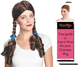 Dorothy Wizard color BROWN - Enigma Wigs Kansas Judy Gale Girl Oz Garland Rainbow Bundle w/Cap, MaxWigs Costume Wig Care Guide