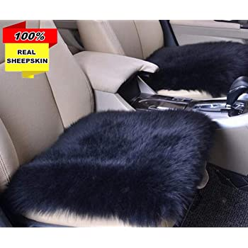 Sisha Sheepskin Seat Cushion Cover Winter Warm Natural Wool Car Seat Covers Universal Fit for Most Car SUV or Van Front Black Truck