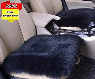 Inzoey Sheepskin Car Front Seat Cover Pad 18x18inch Long Wool Seat Cushion Winter Warm Universal Fit Auto, SUV, Truck, Dinner Chair Office Chair (Black)