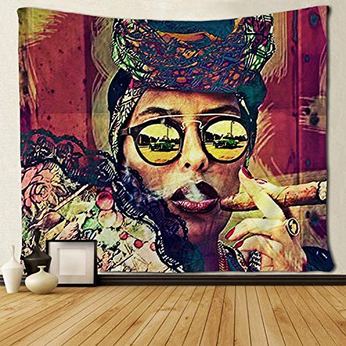 SARA NELL Cool African Women Lady Tapestry African American Woman Smoking Tapestries Wall Art Hippie Bedroom Living Room Dorm Wall Hanging Throw Bedspread 50x60 Inches