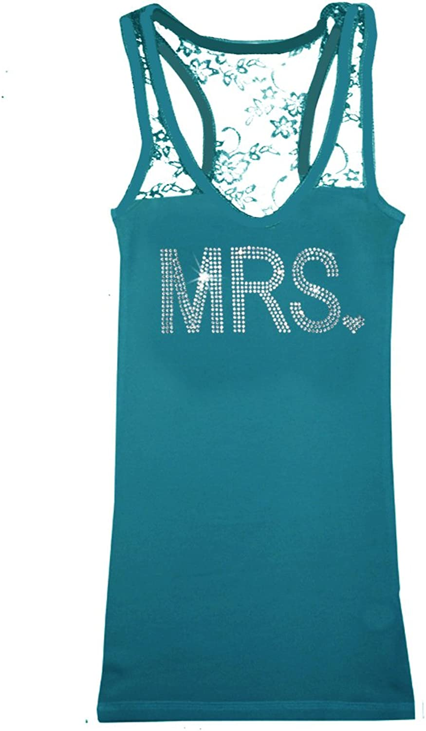 Classy Bride Lace Back Bridal Tank Top with MRS. in Rhinestones