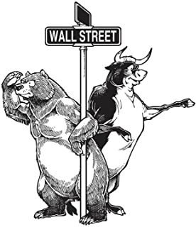 Bull and Bear Standing Beside Wall Street Art Print Laminated Dry Erase Sign Poster 12x18