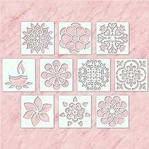 100yellow® Diwali Rangoli Plastic Stencil, 4x4 Inches (White) - Pack of 10