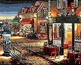 Fuumuui Pintura DIY por números, Regalo Digital para Pintura al óleo DIY sobre Lienzo - Calle Cafe 16x20 Pulgadas