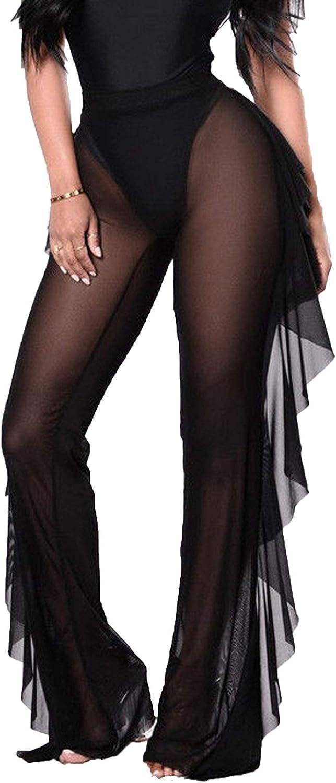 COCOLEGGINGS Women's Sheer Mesh Ruffle Pants Swimsuit Bikini Bottom Cover Ups