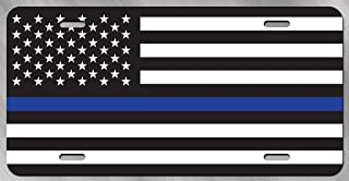 Beabes Reflective Thin Blue Line Front License Plate Cover,Honoring Police Law Enforcement Decorative License Plates for Car,Aluminum Novelty Auto Car Tag Vanity Plates Gift for Men Women 6x12 Inch