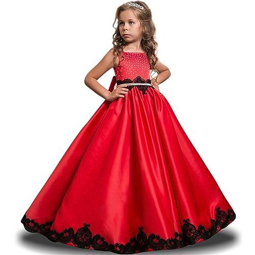 LZH Ragazze Vestono Bianchi da Comunione della Festa Nuziale Principessa  del Pizzo Elegante Cerimonia Pageant Costume c4d35880708