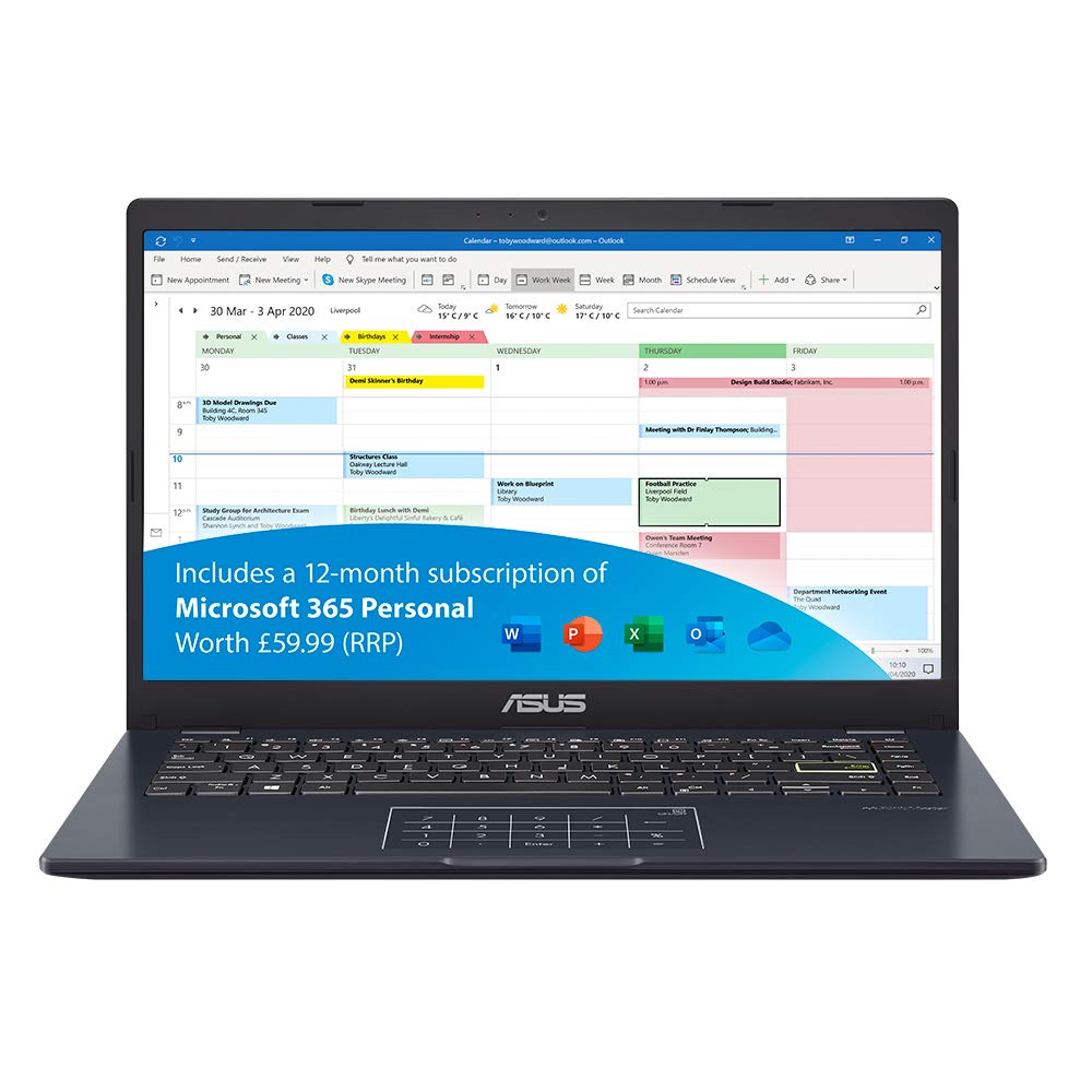 ASUS VivoBook with Microsoft Office 365 - L410MA 14 inch Full HD Metal Laptop (Intel Pentium N5030, 4GB RAM, 64GB eMMC, Windows 10 S) - Includes LED NumberPad, Blue