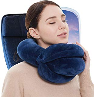 BUYUE 360 Chin Support Travel Pillow for Better Sleeping on Airplanes Adjustable Soft Neck Pillow Supports Head, Neck and Chin - Patented Product (Adult Size, Navy)