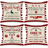 AENEY Christmas Pillow Covers 18x18 Set of 4, Red Stripe Rustic Winter Holiday Throw Pillows Farmhouse Christmas Decor for Home, Xmas Decorations Cushion Cases for Couch A304-18