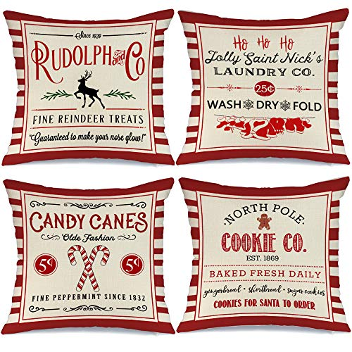 AENEY Christmas Decorations Pillow Covers 18x18 Set of 4, Red Stripe Rustic Winter Holiday Throw Pillows Farmhouse Christmas Decor for Home, Xmas Cushion Cases for Couch A304-18