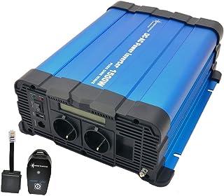 solartronics Spanningsomvormer FS1500D 12V 1500/3000 Watt pure sinus blauw m. Display met afstandsbediening radio