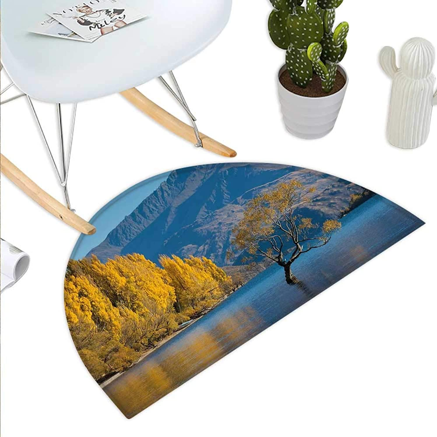 Nature Semicircle Doormat Sunken Tree Lake on Mountain Range Exquisite Rural New Zealand Scenery Halfmoon doormats H 39.3  xD 59  Earth Yellow Pale bluee