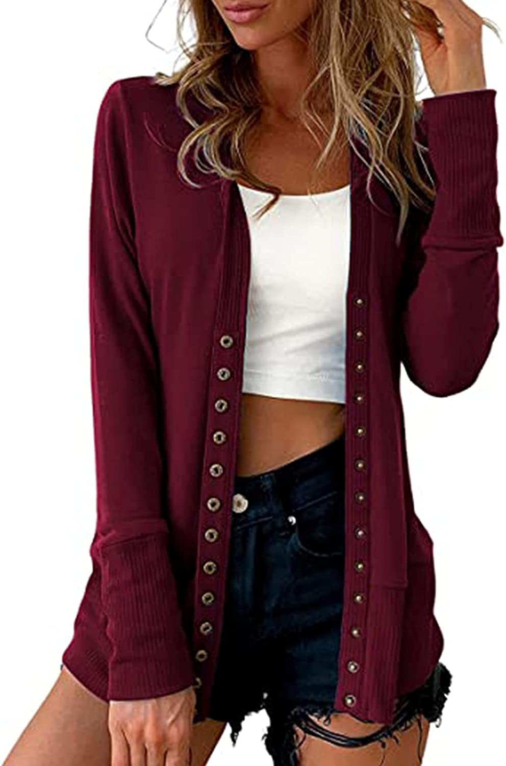Hemlock Women Button Down Cardigans Thin Fall Coat Long Sleeve Sweater Cardigan Tops Solid Color Slim Outwears