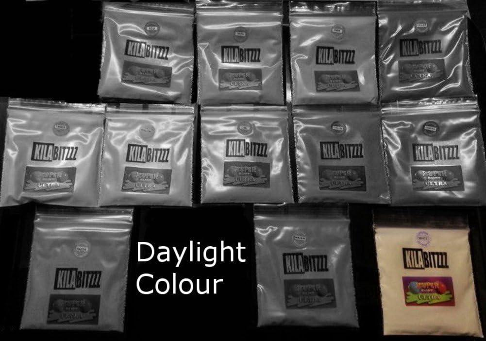 Brillo Ultra en la oscuridad fluorescente pigmento polvo UVA 20/g/ 20 g /Utilizado para el brillo o en resina para joyas. aguamarina